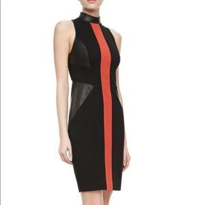 Jason Wu Black Knit Leather Dress Red Stripe 4